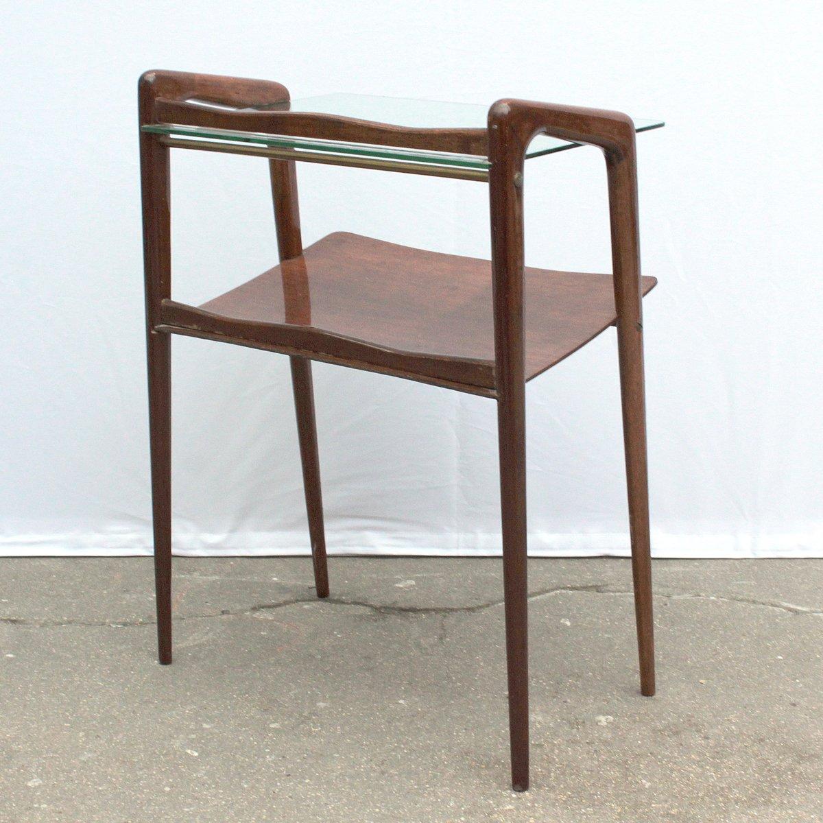 mid century beistelltisch aus holz glas bei pamono kaufen. Black Bedroom Furniture Sets. Home Design Ideas