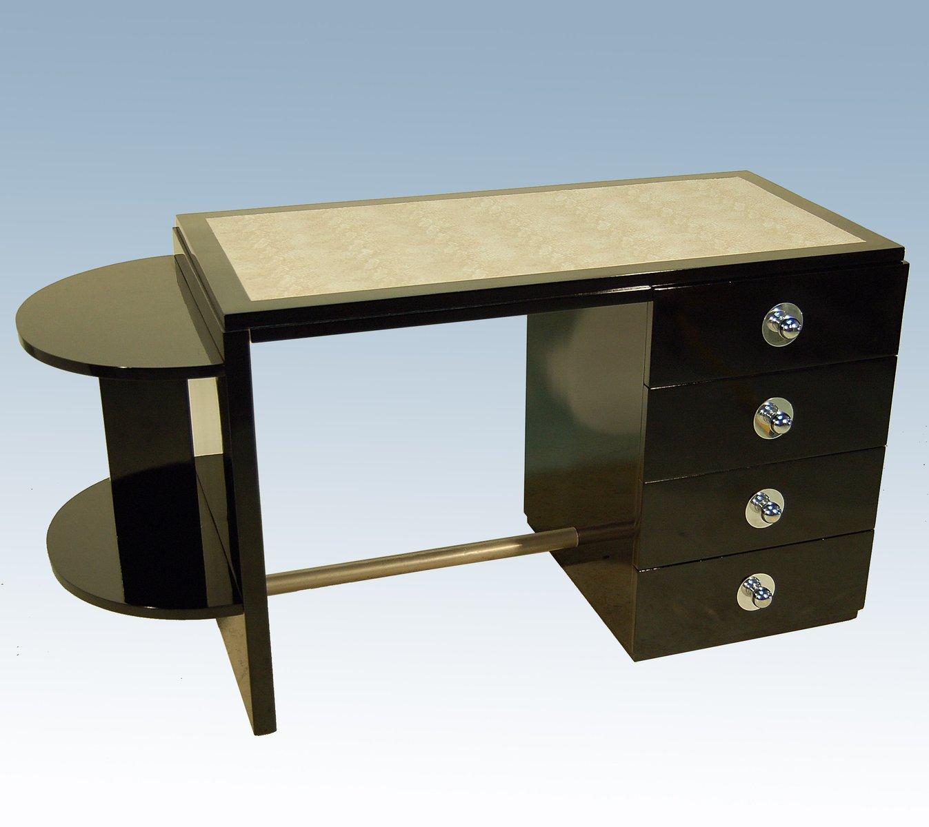 Schwarz Lackierter Art Deco Schreibtisch & Drehstuhl