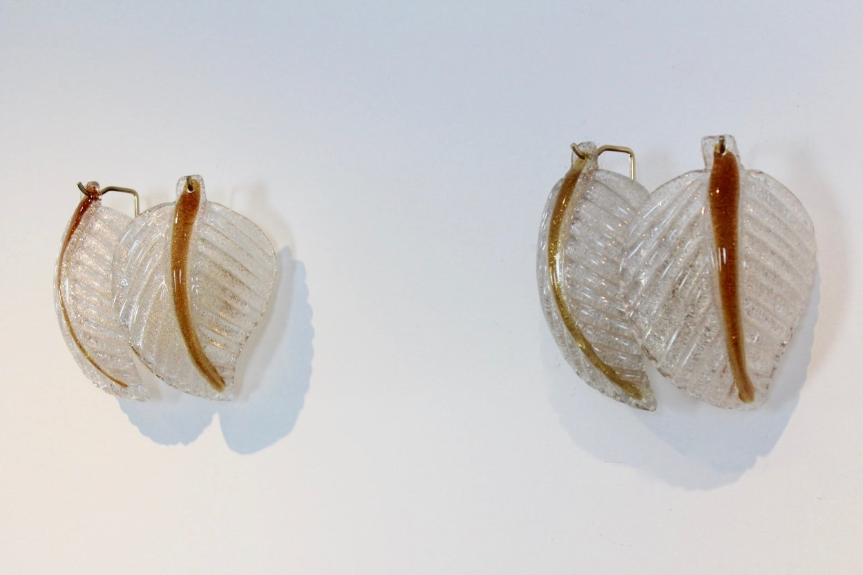 Murano Glasblatt Wandlampen von Mazzega, 1970er, 2er Set
