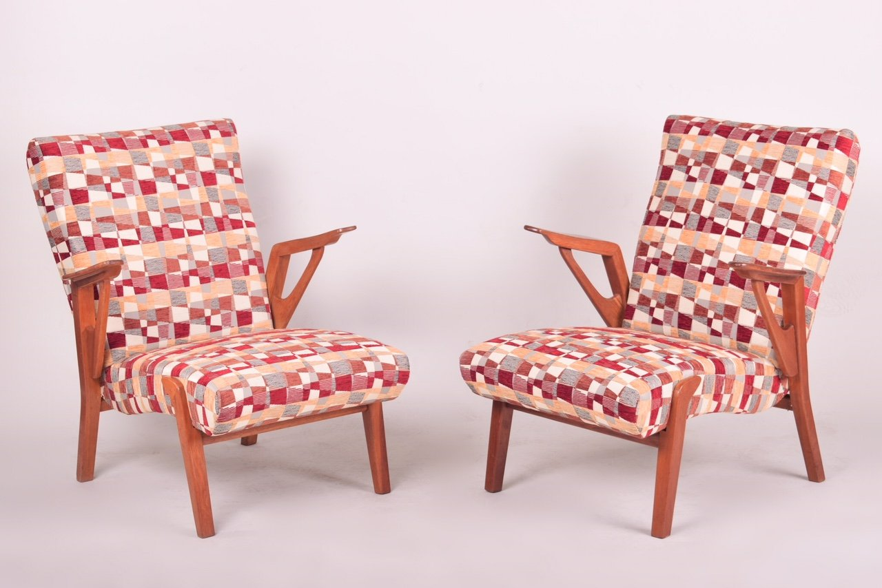 Mid-Century Eichenholz Sessel, 1960er, 2er Set