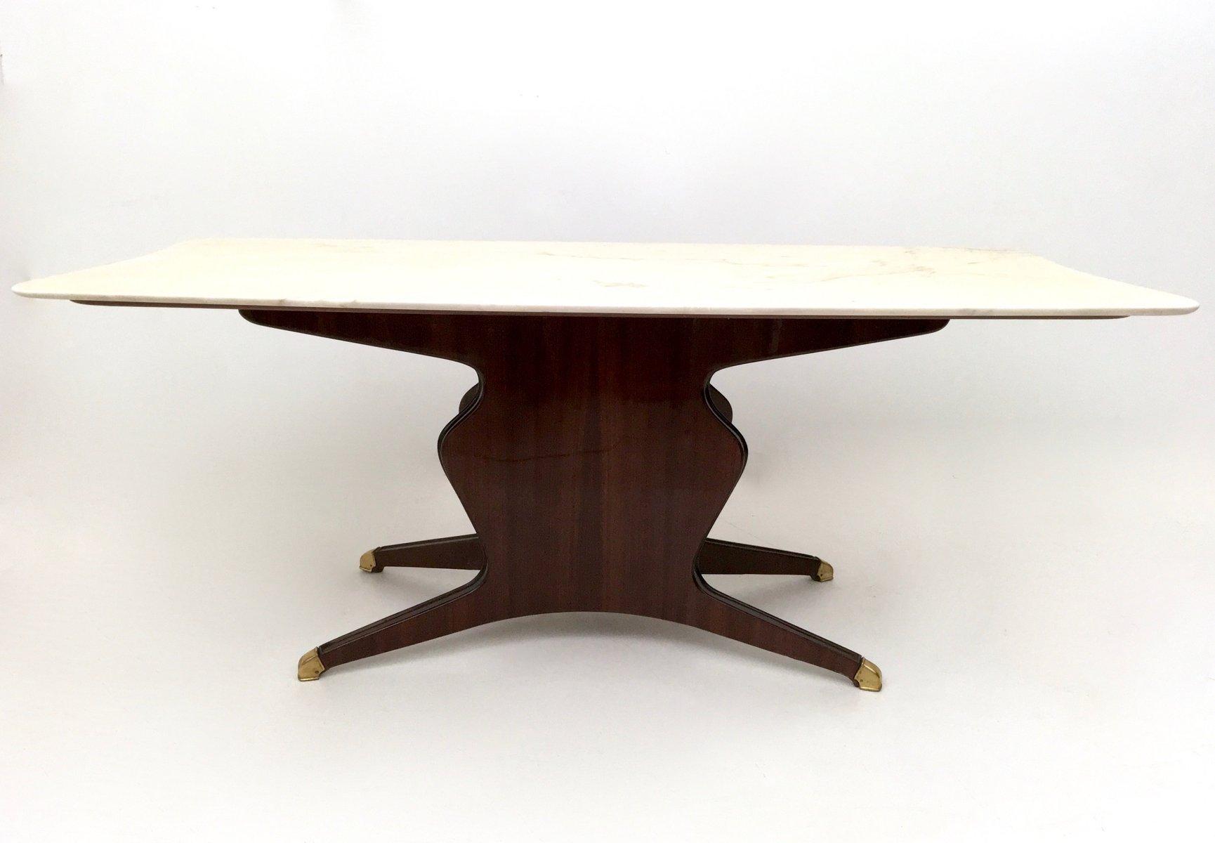 Hölzerner Esstisch mit Tischplatte aus Carrara Marmor von Osvaldo Bors...