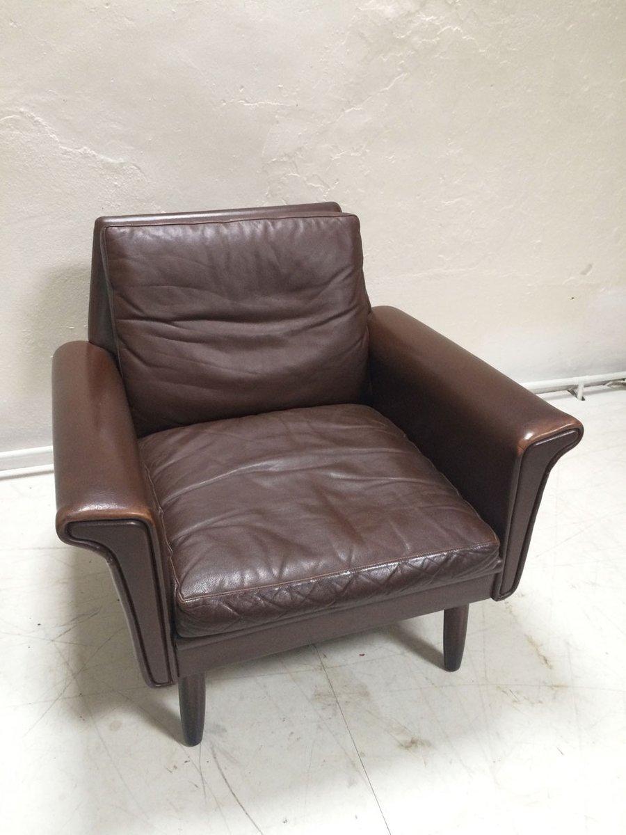 fauteuil en cuir marron danemark 1960s en vente sur pamono. Black Bedroom Furniture Sets. Home Design Ideas