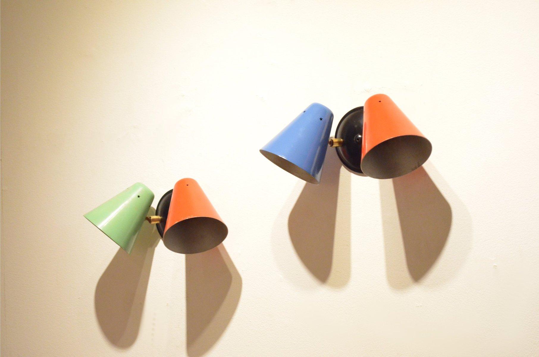 Verstellbare Bunte Kegelförmige Wandleuchten, 2er Set