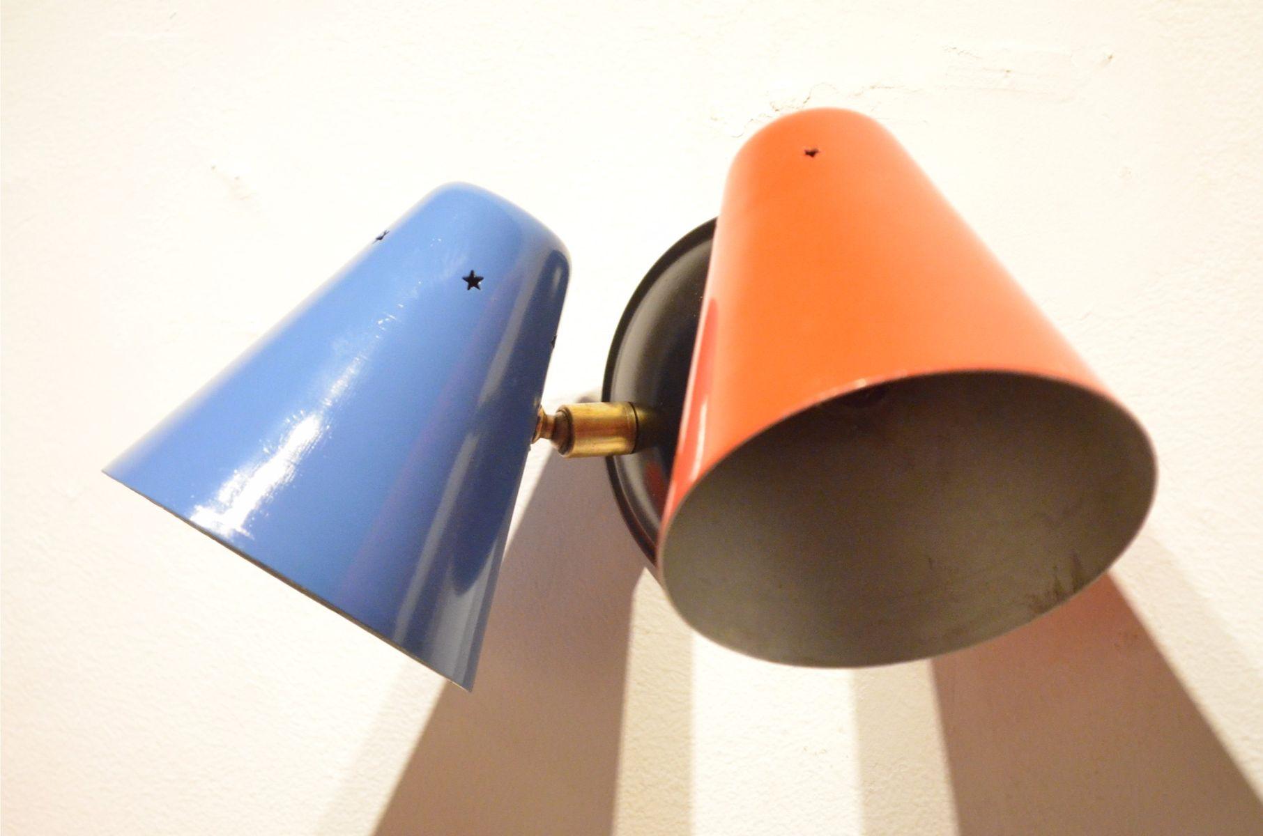 Applique da parete coniche regolabili multicolori anni 50 set di