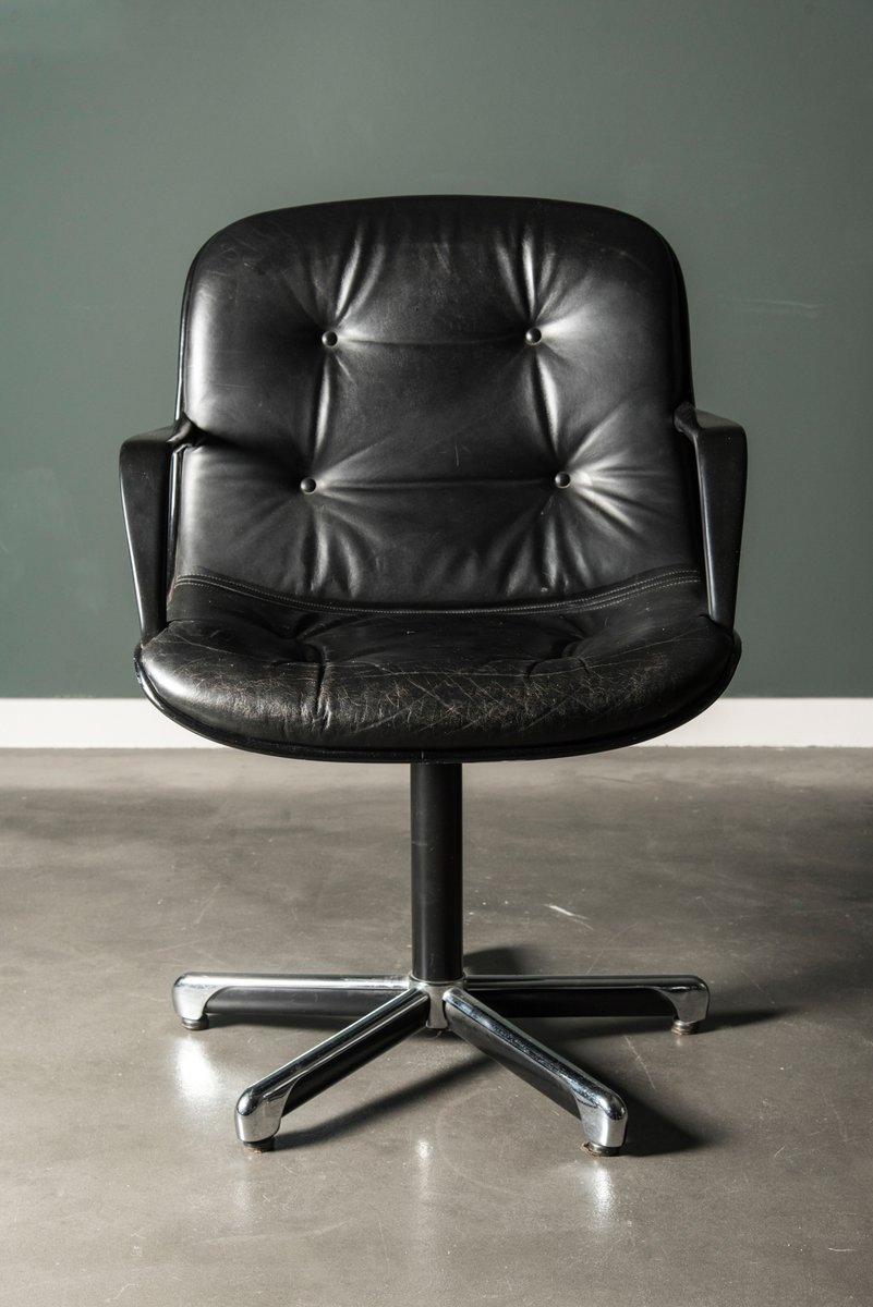 Vintage Black Leather Executive Chair By Charles Pollock For Knoll