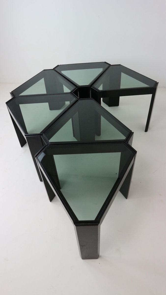 Geometric stackable nesting tables by porada arredi 1970s for Porada arredi
