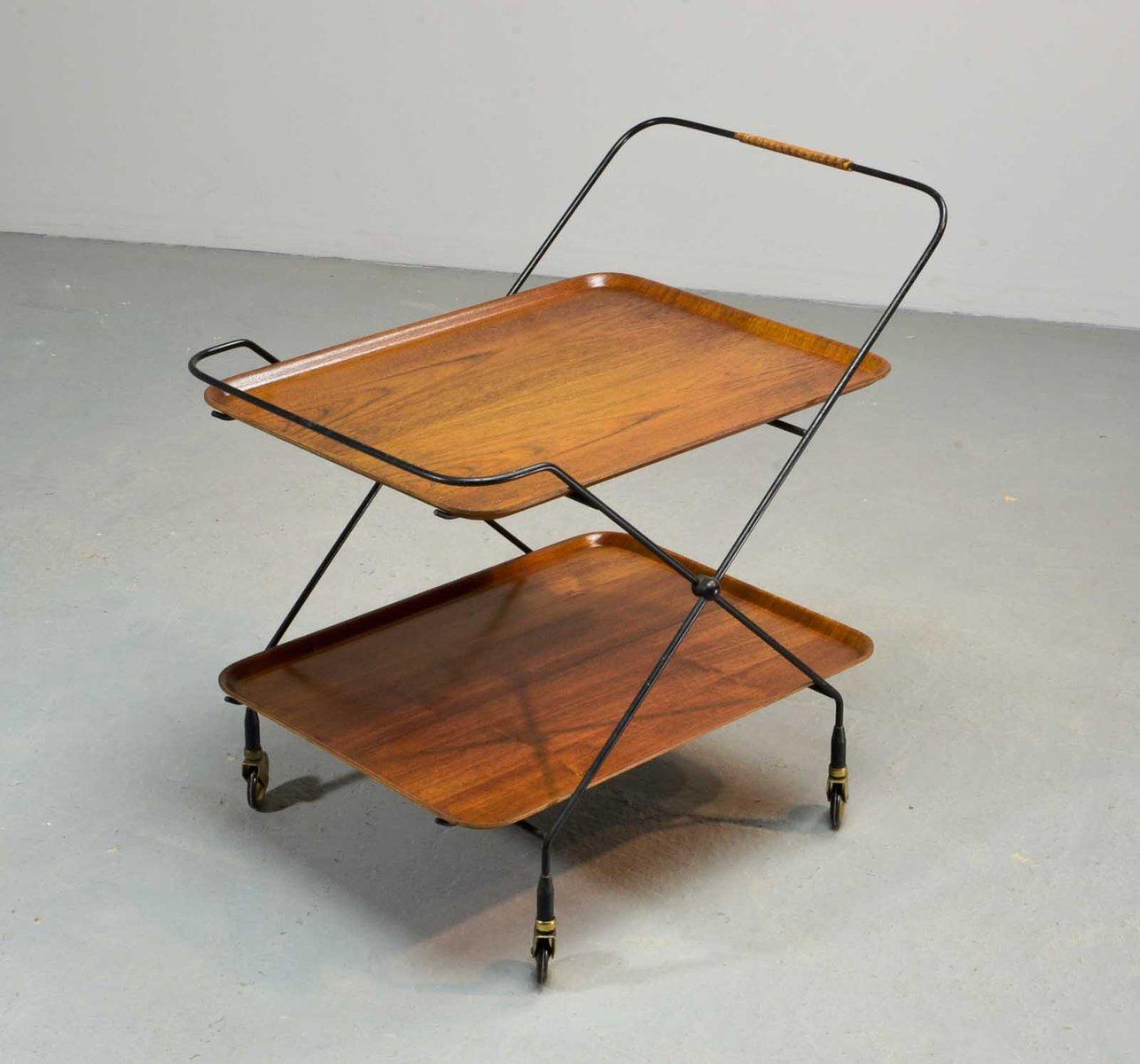 tee oder servierwagen aus teak und stahl von paul nagel 1950er bei pamono kaufen. Black Bedroom Furniture Sets. Home Design Ideas
