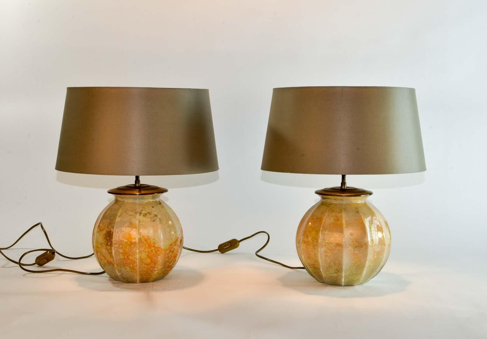 Handgefertigte Tischlampen von Laque Line, 1970er, 2er Set