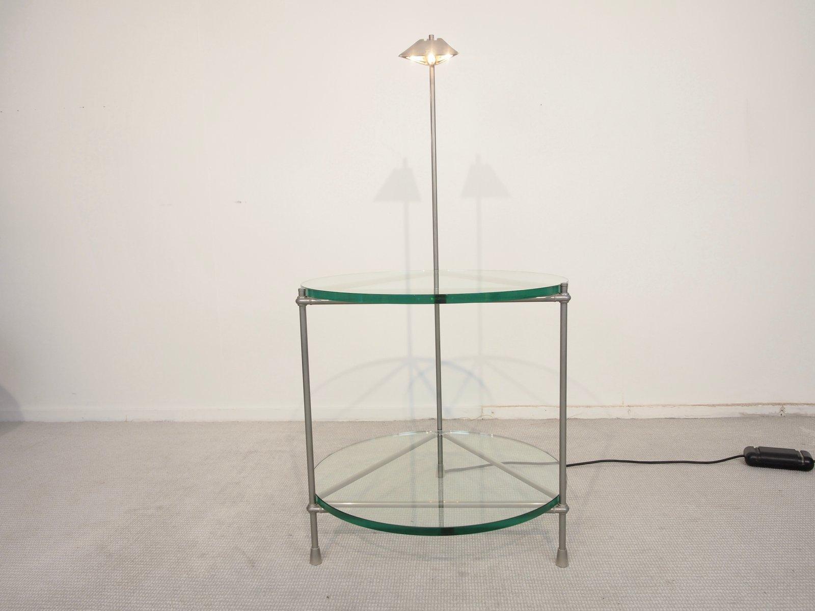 Round Beistelltisch Aus Chrom Und Glas Mit Integrierter Lampe Von Peter Ghyzcy Bei Pamono Kaufen