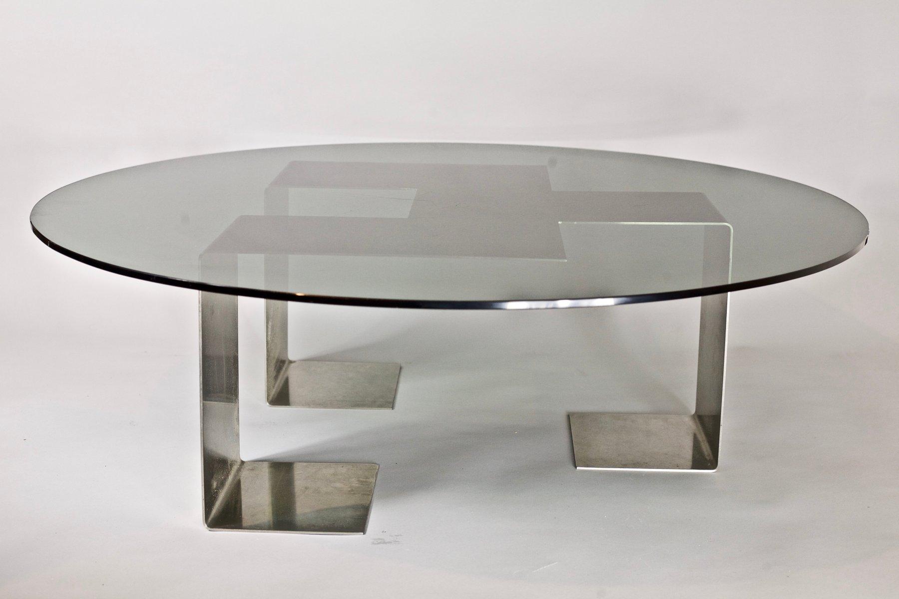 Colima Tisch aus Gebürstetem Stahl und Glas von Jean-Pierre Mesmin für...