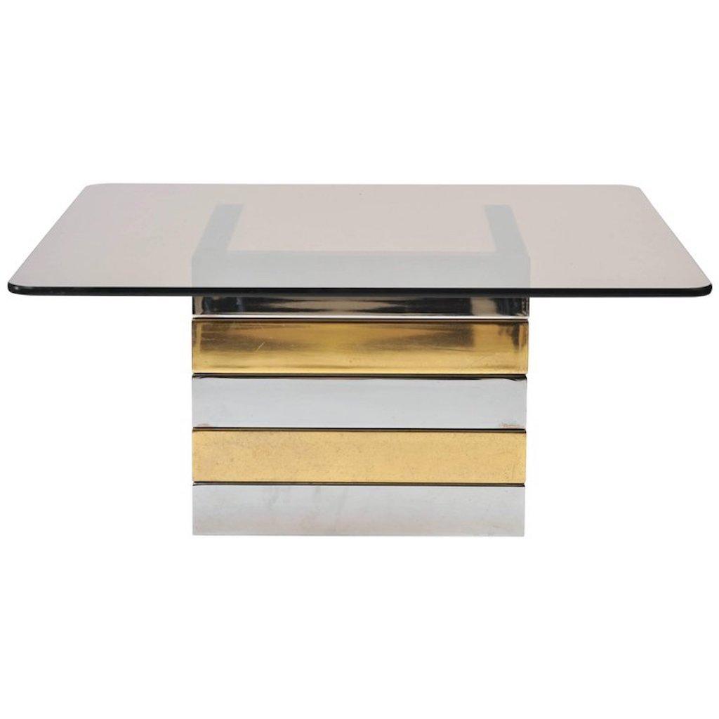 Couchtisch aus Messing & Chrom mit Tischplatte aus Kristall von Pieff,...