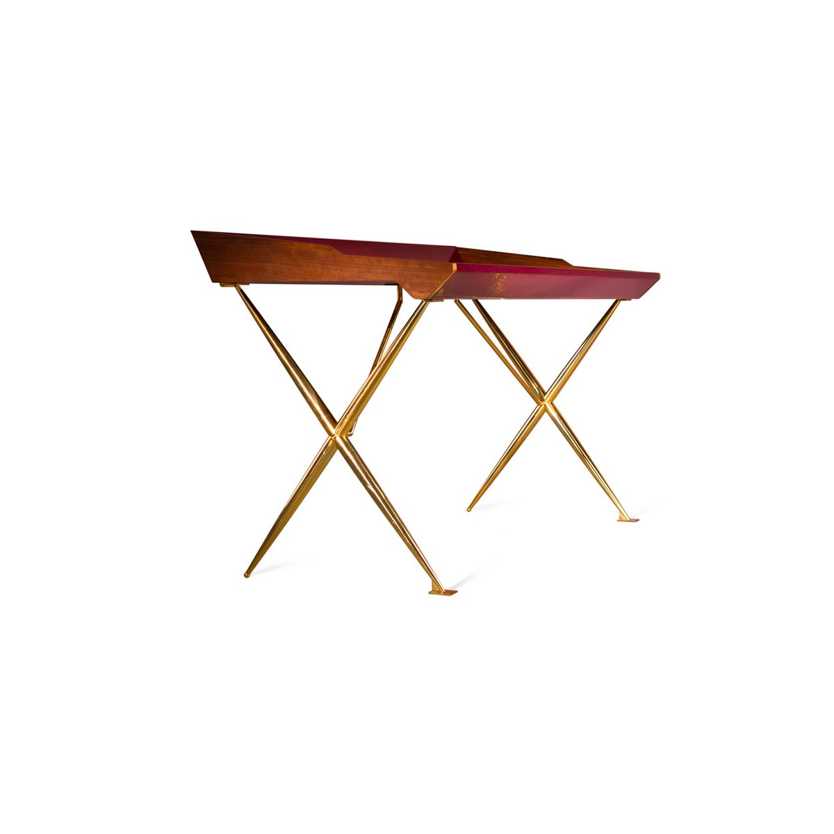 Mid Century Inspired Lacquered Wood Brass Versatil Writing Desk Privatiselectionem Restore Modern