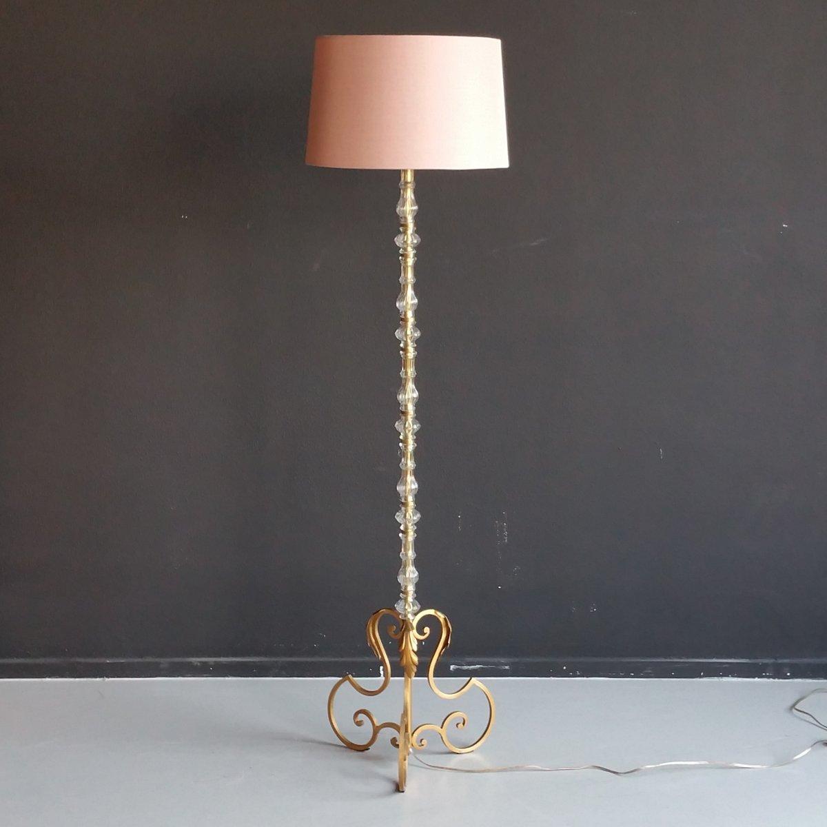 stehlampe mit vergoldetem metall und murano glas 1960er bei pamono kaufen. Black Bedroom Furniture Sets. Home Design Ideas
