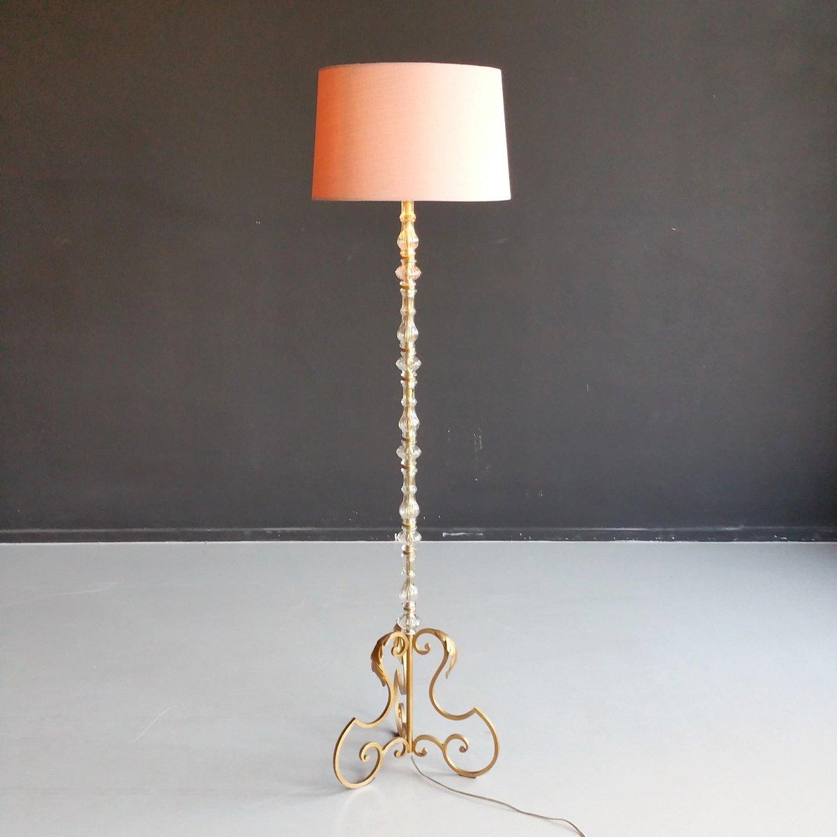 Stehlampe mit Vergoldetem Metall und Murano Glas, 1960er