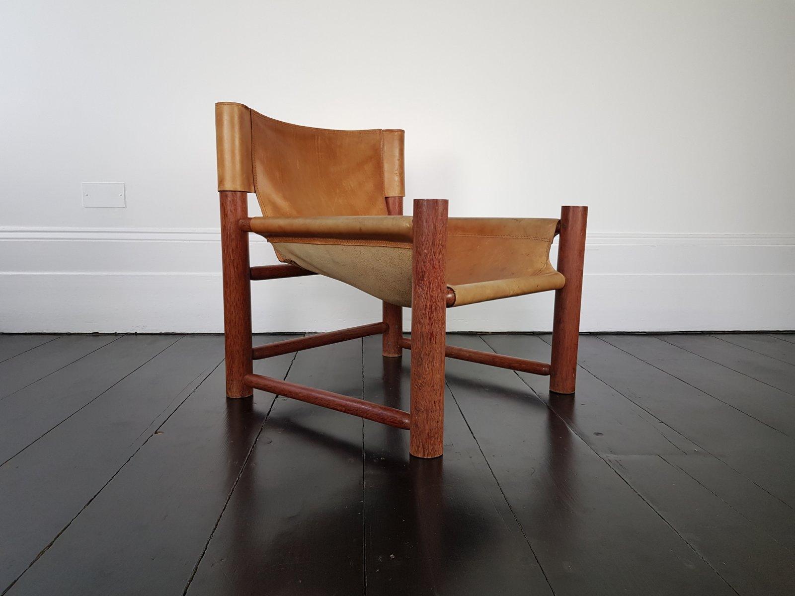 mid century leder safari stuhl 1960er bei pamono kaufen. Black Bedroom Furniture Sets. Home Design Ideas