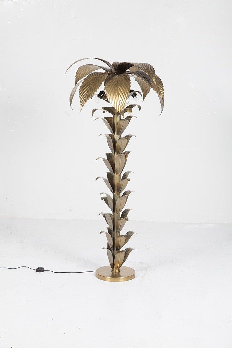 Mid-Century Stehlampe mit Palmen-Fuß aus Messing, 1970er