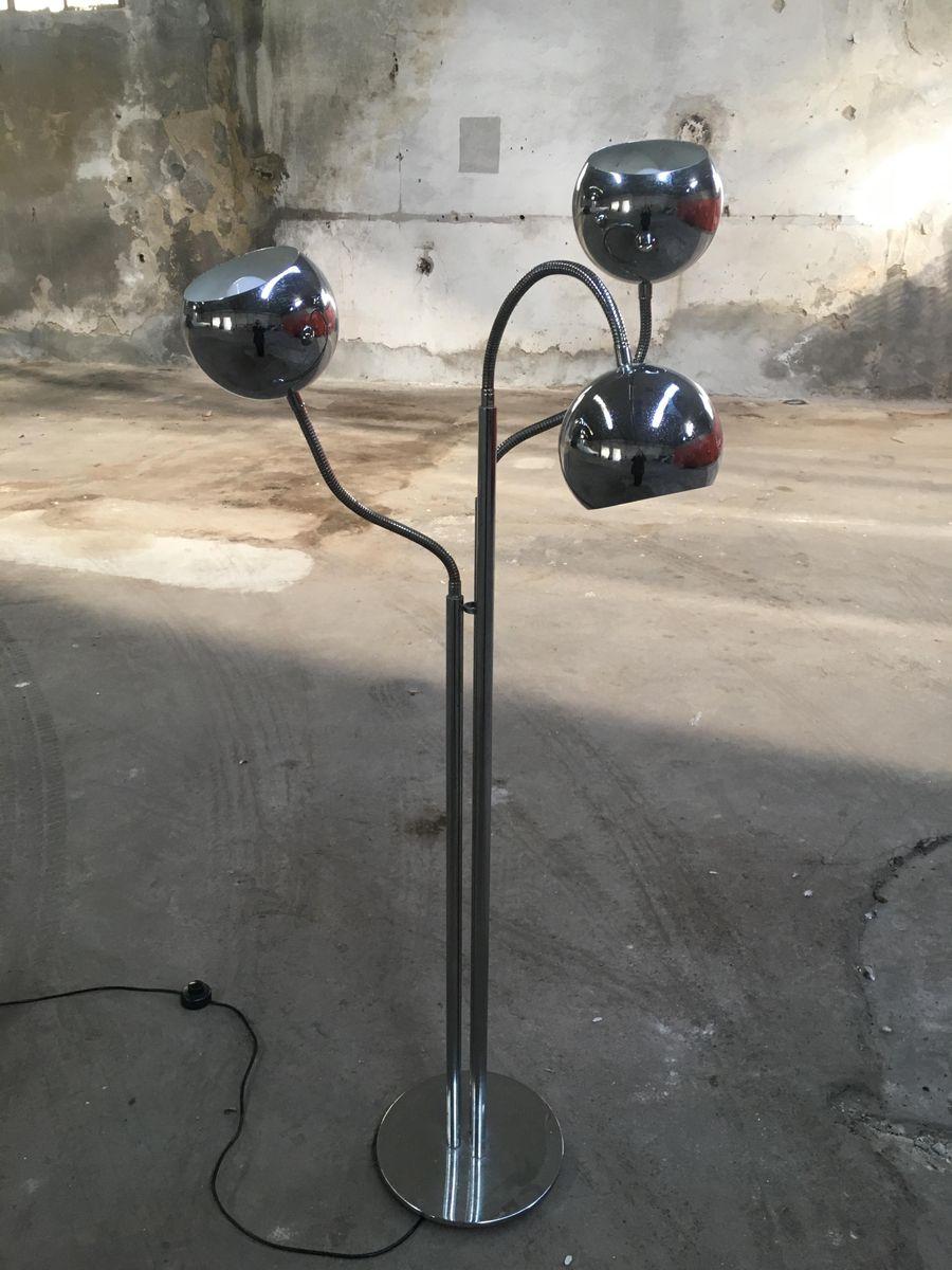 Italienische Chrom Stehlampe mit Verstellbaren Lampen, 1970er