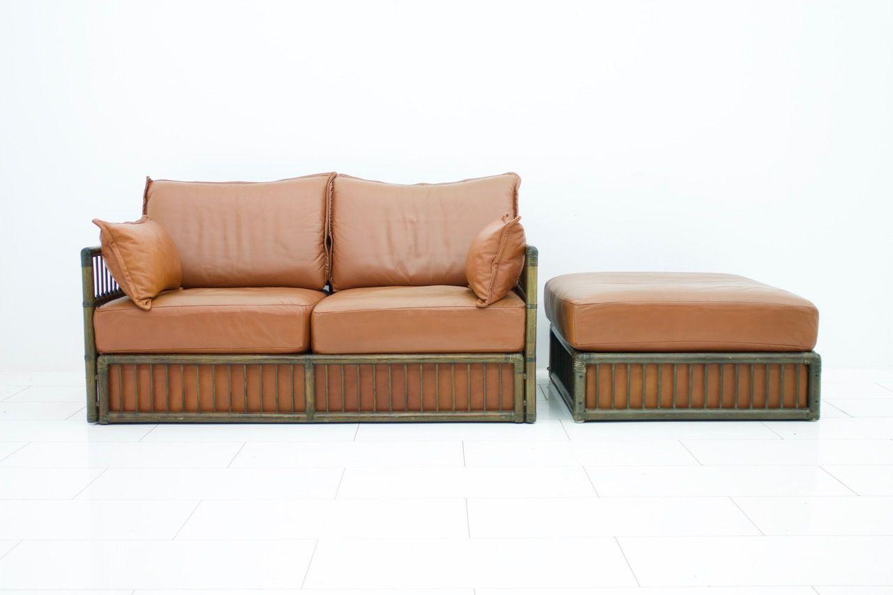 2-Sitzer Vintage Ledersofa & Ottomane Set von Rolf Benz, 1978