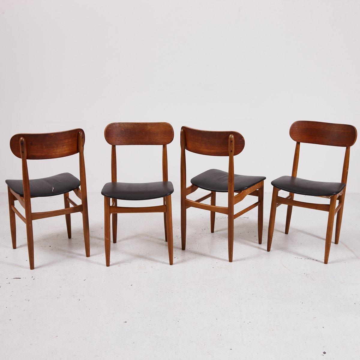 teak esszimmerst hle von gessef 1990er 4er set bei pamono kaufen. Black Bedroom Furniture Sets. Home Design Ideas