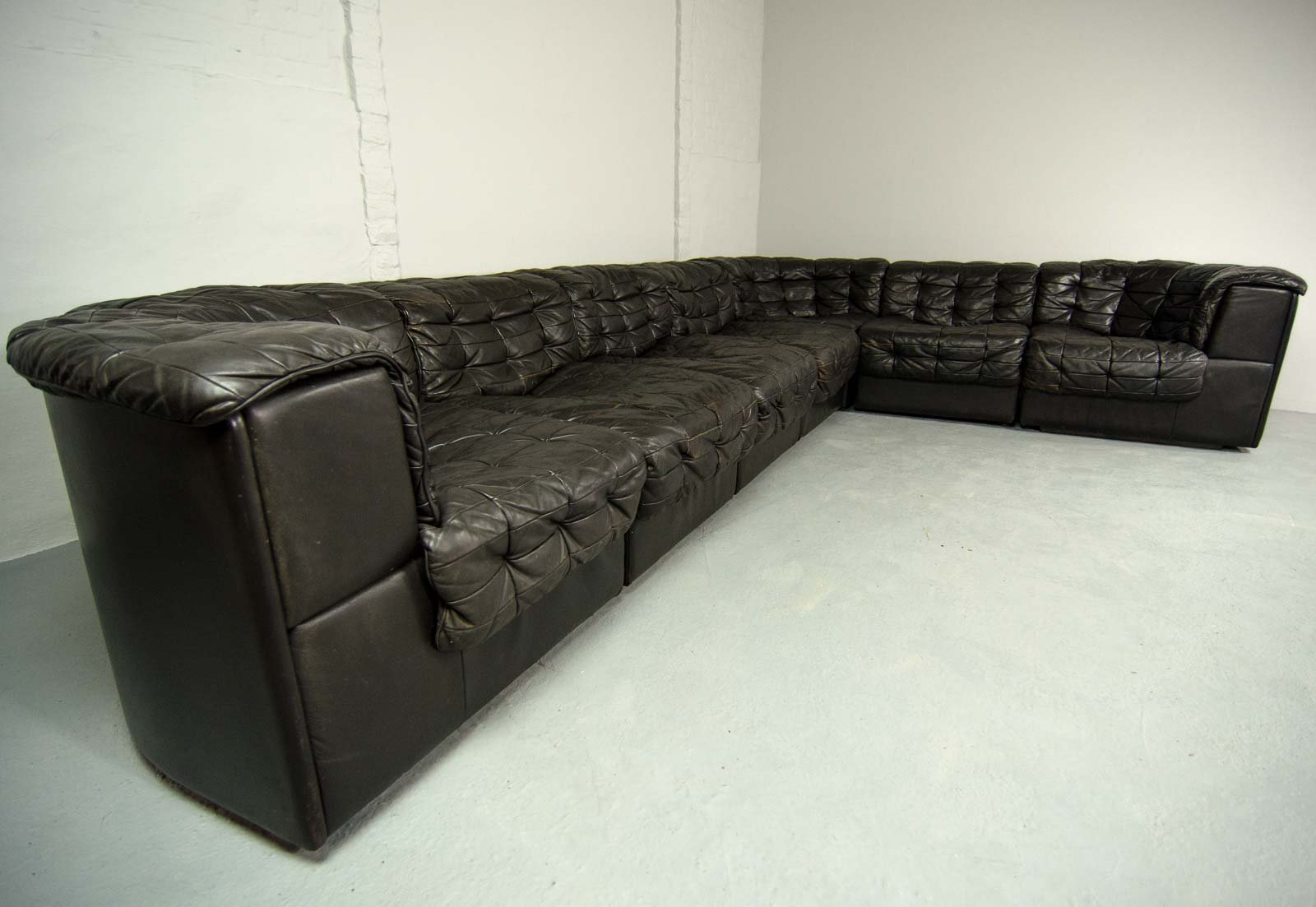DS11 Black Brown Leather 7 Elements Modular Sofa From De Sede, 1970s