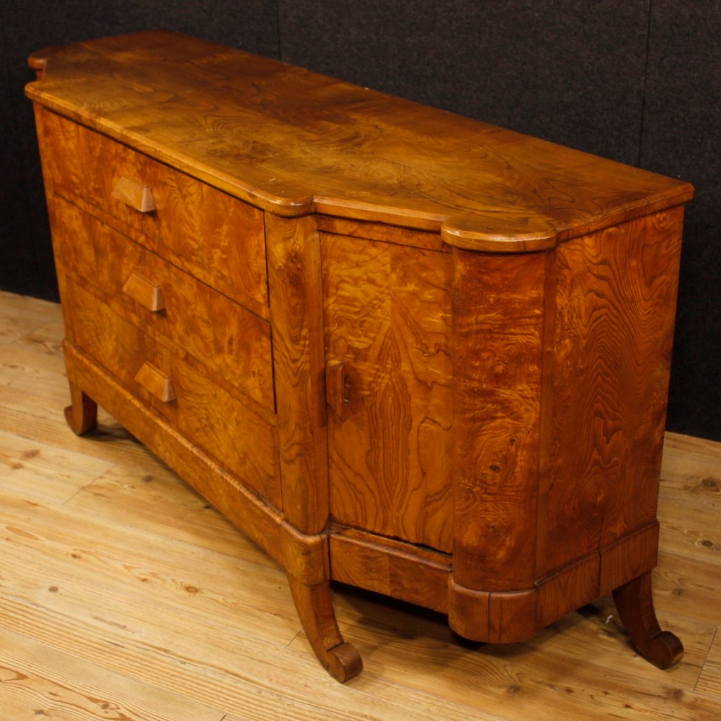 mid century french art deco sideboard in wood for sale at pamono. Black Bedroom Furniture Sets. Home Design Ideas