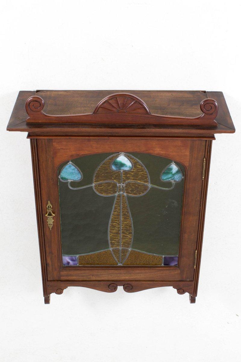 meuble de rangement mural art nouveau en noyer et porte en verre teint france 1900s en vente. Black Bedroom Furniture Sets. Home Design Ideas
