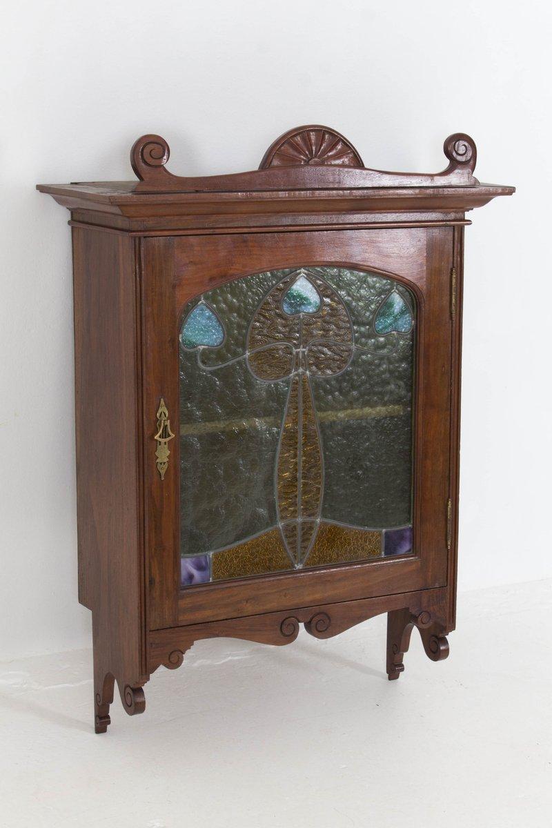 Meuble de rangement mural art nouveau en noyer et porte en verre teint france 1900s en vente - Meuble rangement verre ...