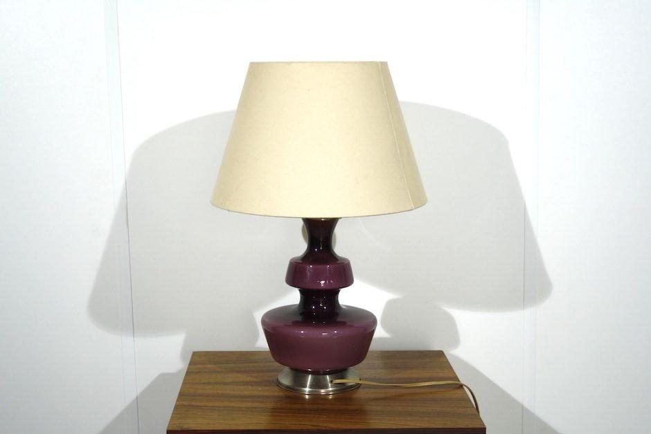 Lampada Scrivania Viola : Lampada da tavolo vintage in vetro viola in vendita su pamono