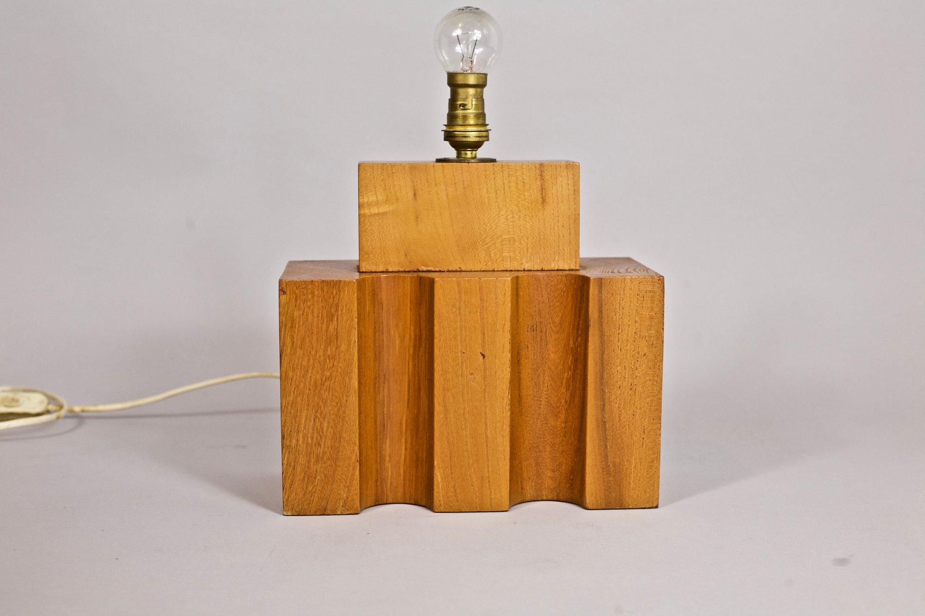 Konstruktivistische Lampe aus Holz von Maison Regain, 1970er
