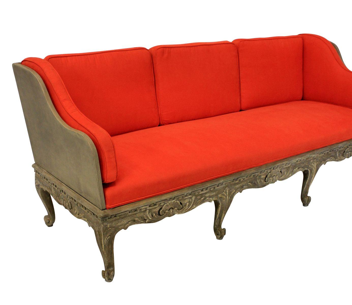gro es schwedisches schlafsofa mit geschnitztem bemaltem gestell bei pamono kaufen. Black Bedroom Furniture Sets. Home Design Ideas