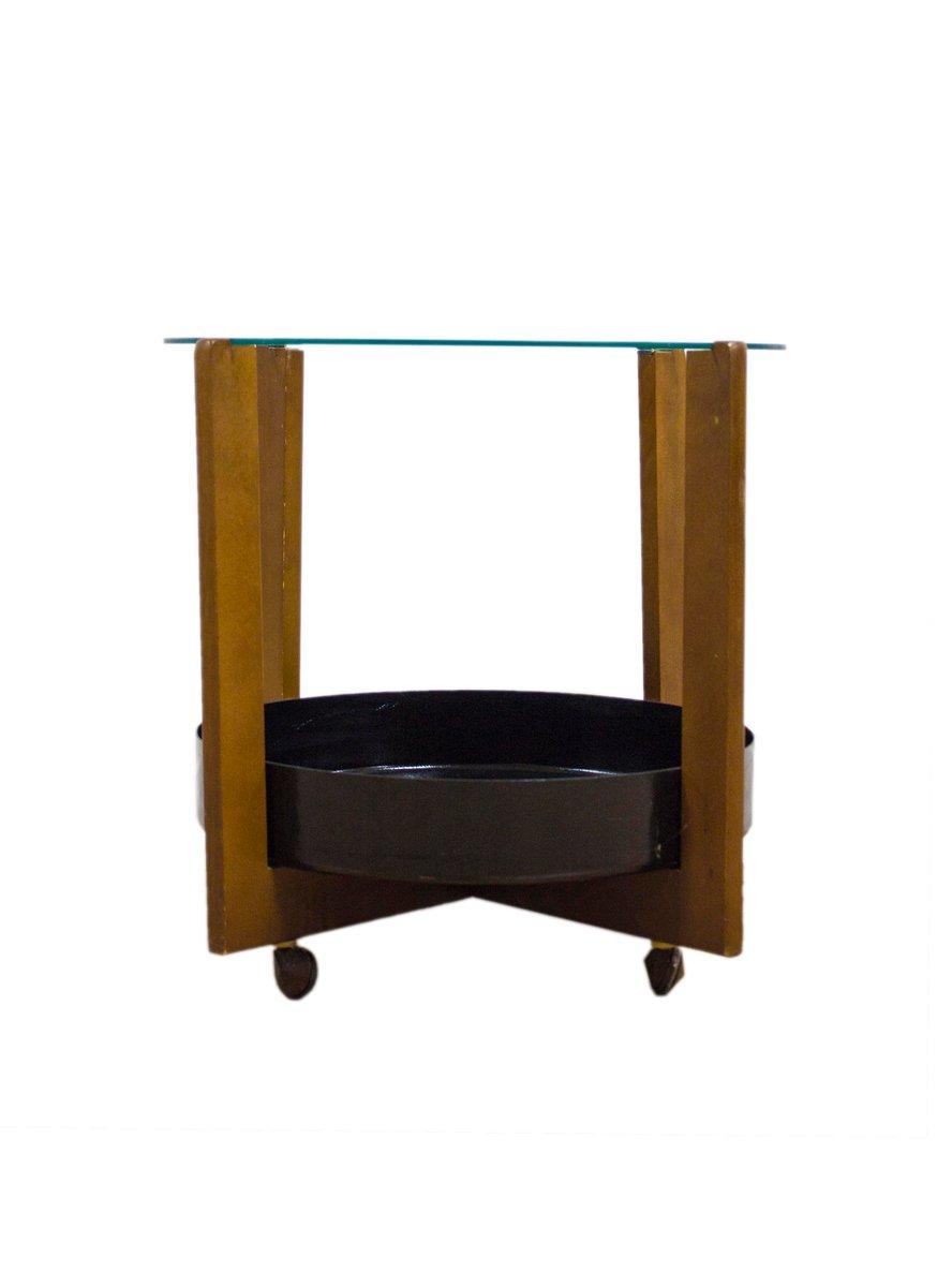 Danish Teak Metal Glass Coffee Table 1960s