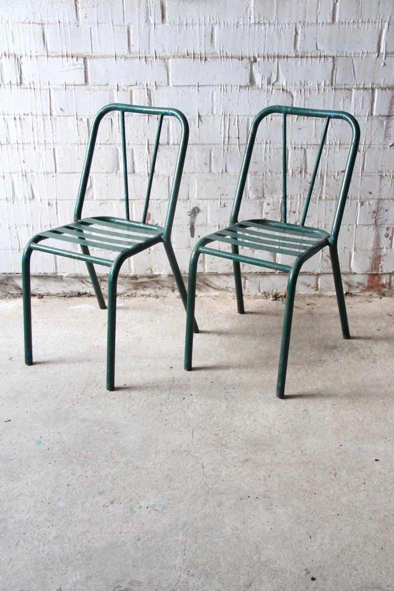 gr ner vintage stuhl aus metall 1940er bei pamono kaufen. Black Bedroom Furniture Sets. Home Design Ideas