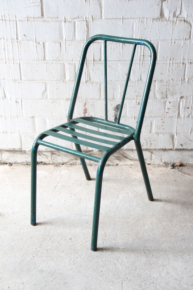 Beau Vintage Green Metal Bistro Chair, 1940s
