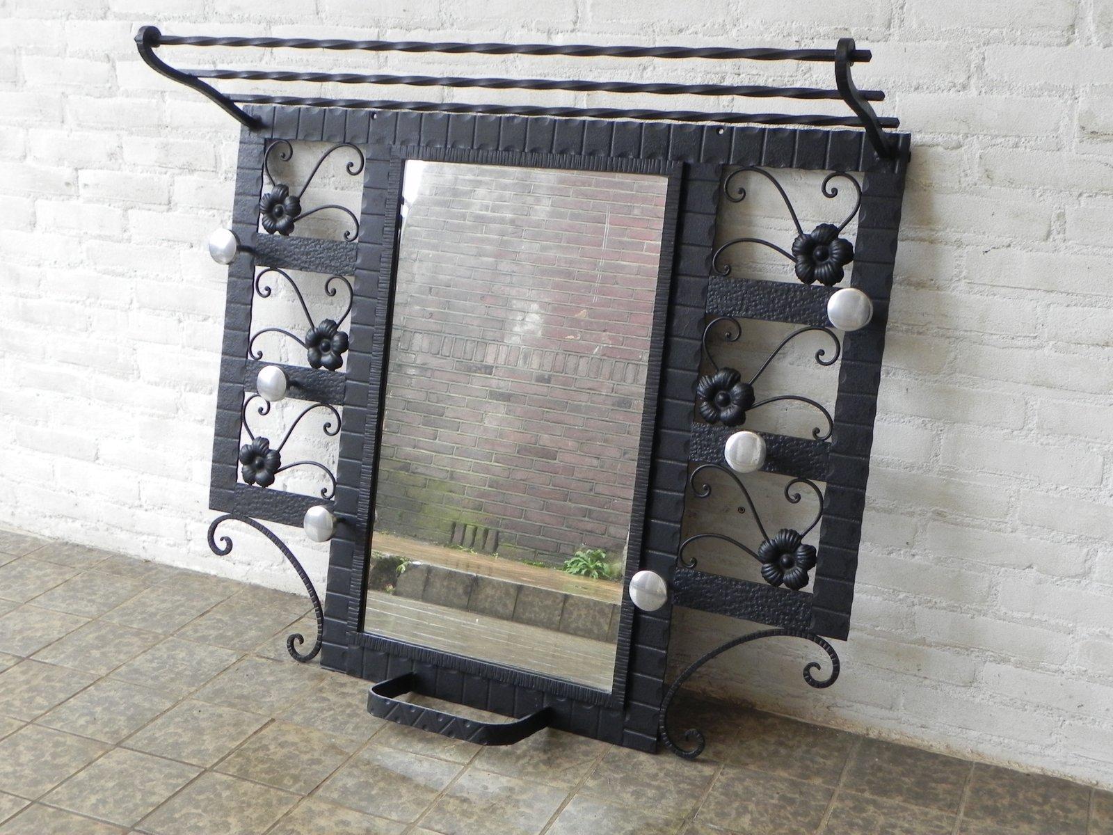 portemanteau mural art d co avec miroir 1930s en vente sur pamono. Black Bedroom Furniture Sets. Home Design Ideas