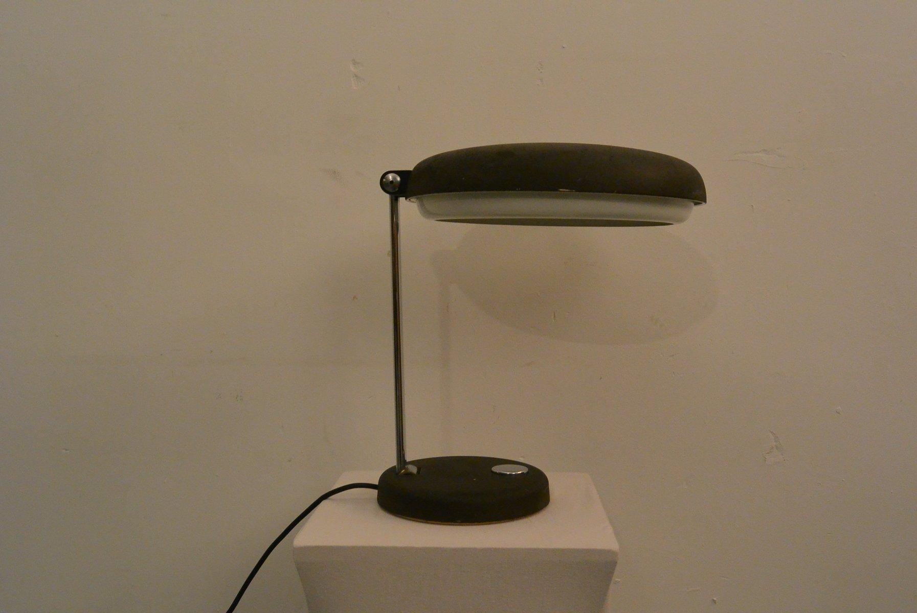 Schwarze Mid-Century Schreibtischlampe mit Chrom von Egon Hillebrand f...