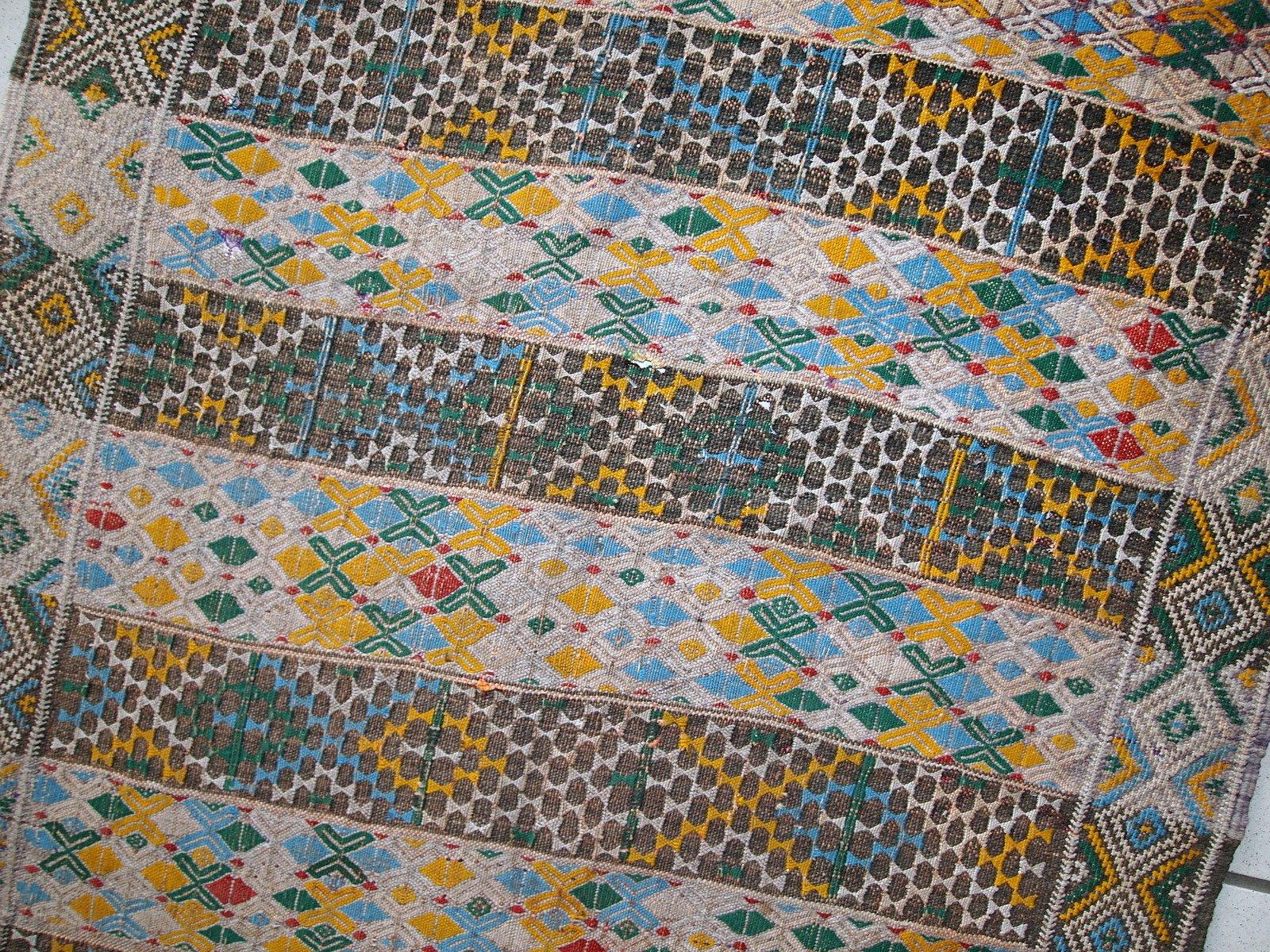 Alfombra Kilim Tunecina Vintage De Tejido Plano Hecha A