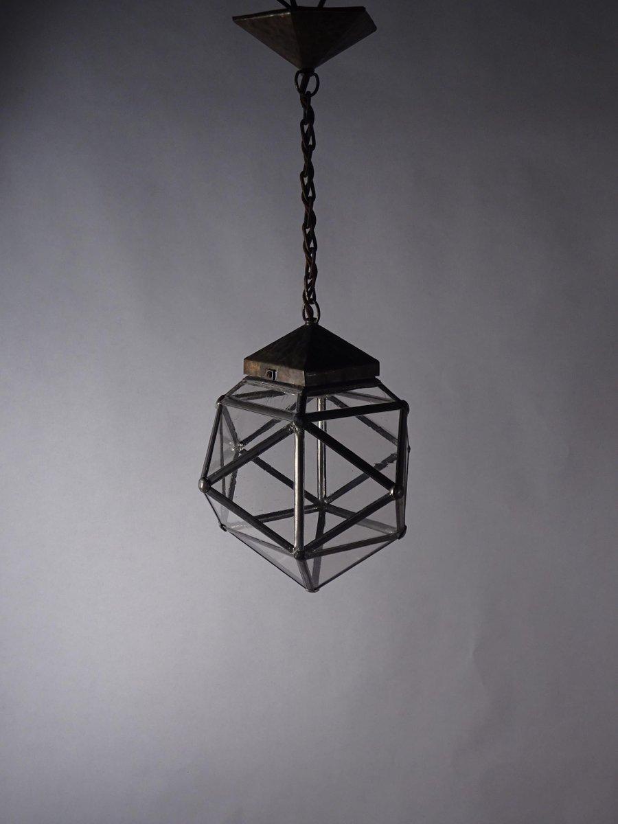 Antike Jugendstil Deckenlampe aus Messing