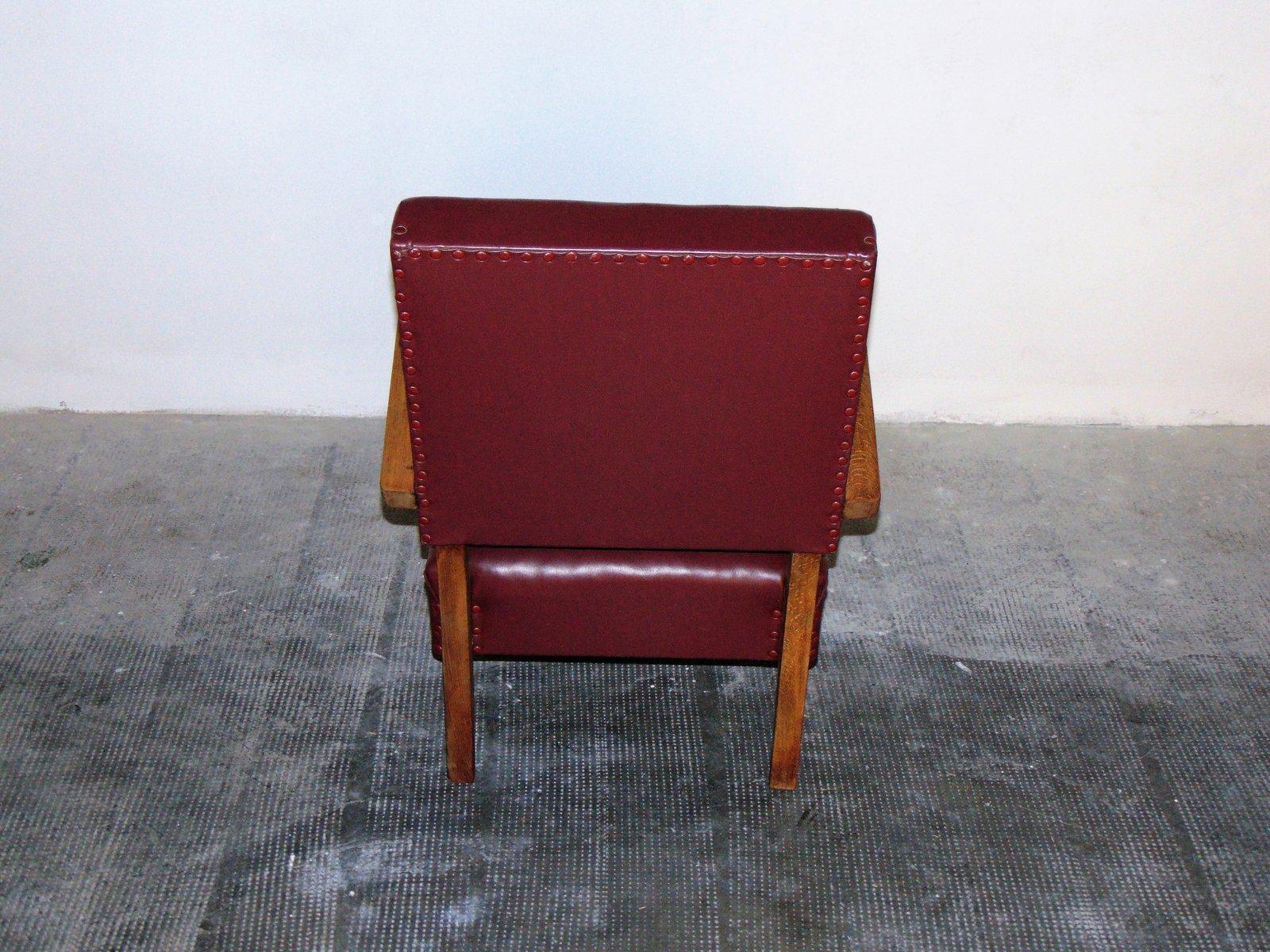 fauteuil en skai italie 1950s en vente sur pamono. Black Bedroom Furniture Sets. Home Design Ideas