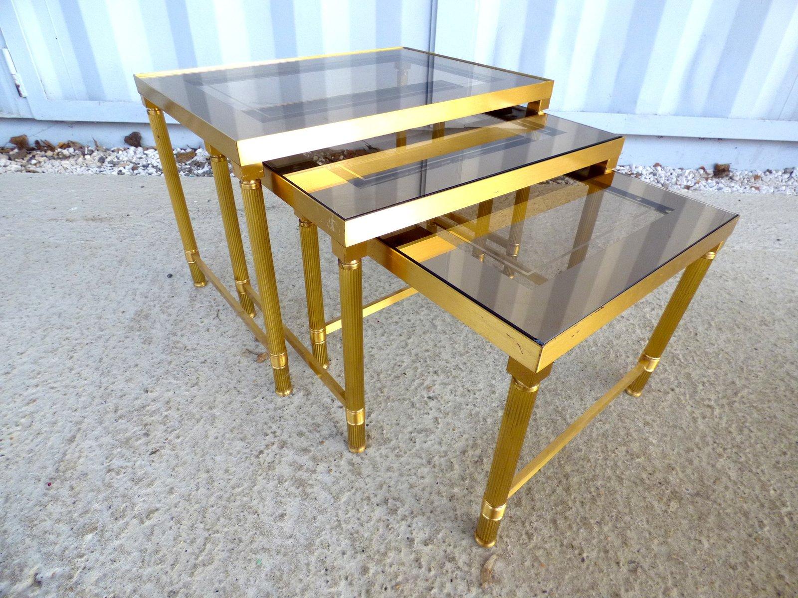 tables gigognes vintage en laiton de maison jansen 1970s set de 3 en vente sur pamono. Black Bedroom Furniture Sets. Home Design Ideas