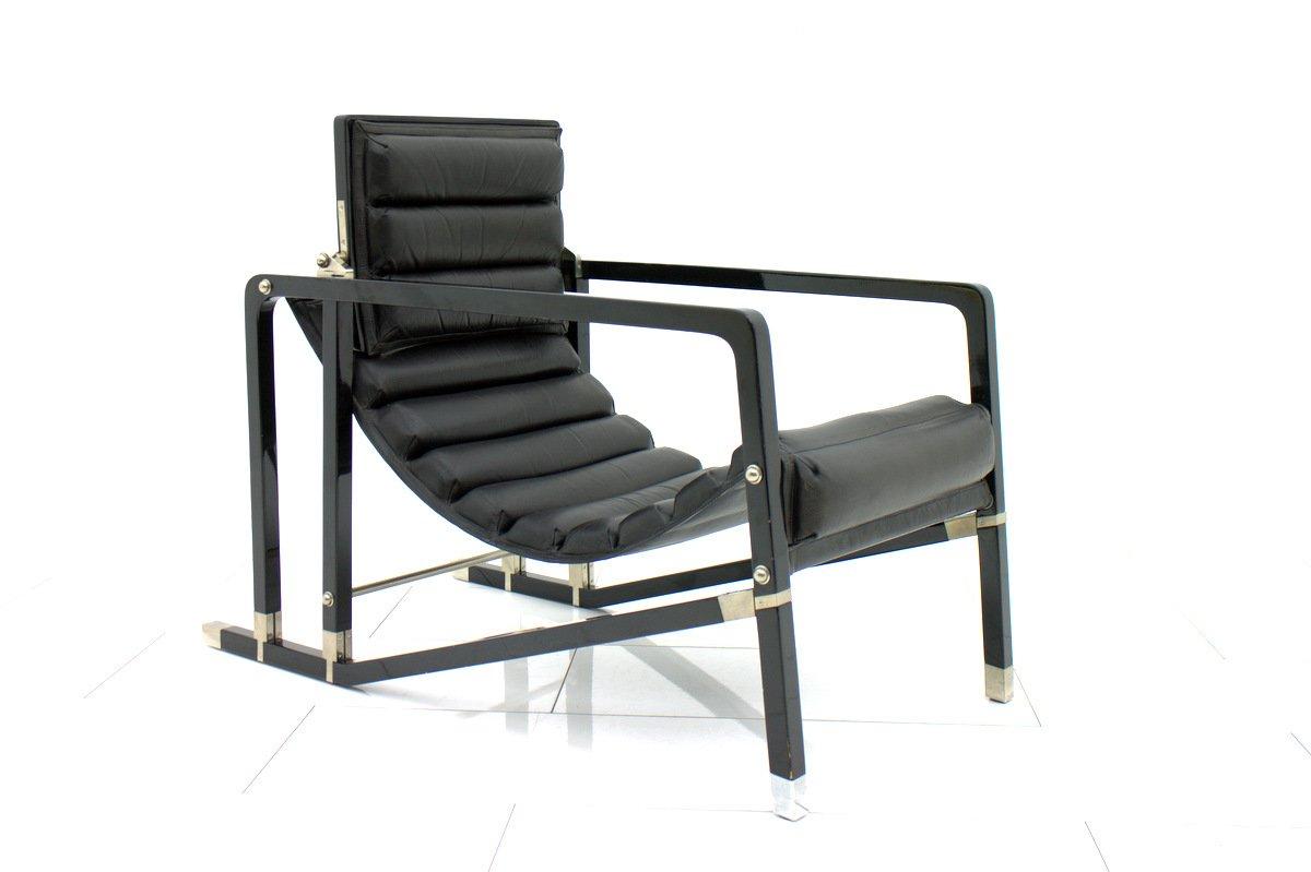 fauteuil vintage noir par eileen gray pour ecart international 1980s en vente sur pamono. Black Bedroom Furniture Sets. Home Design Ideas