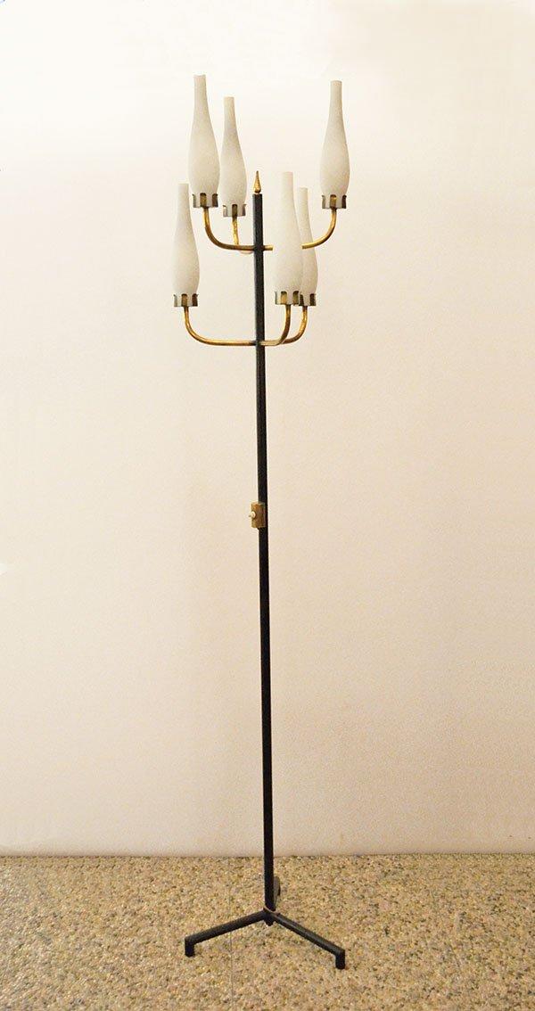 Stehlampe mit Sechs Leuchten aus Messing & Seidenglas von Arredoluce, ...