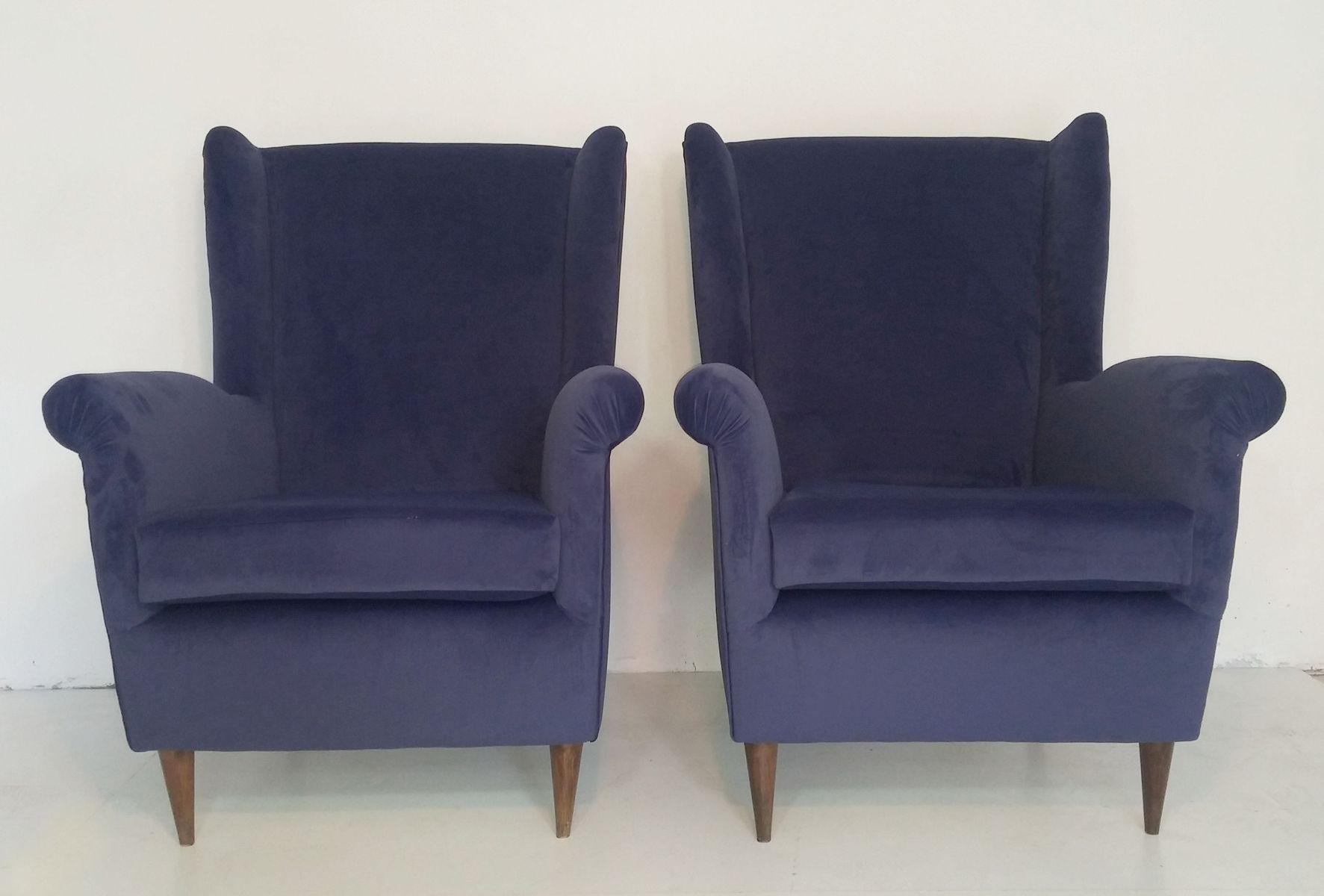 Mid-Century Sessel aus Samt, 2er Set