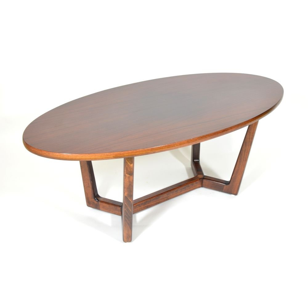 Oval Espresso Coffee Table: Oval Coffee Table From Dřevotvar Holešov, 1980s For Sale