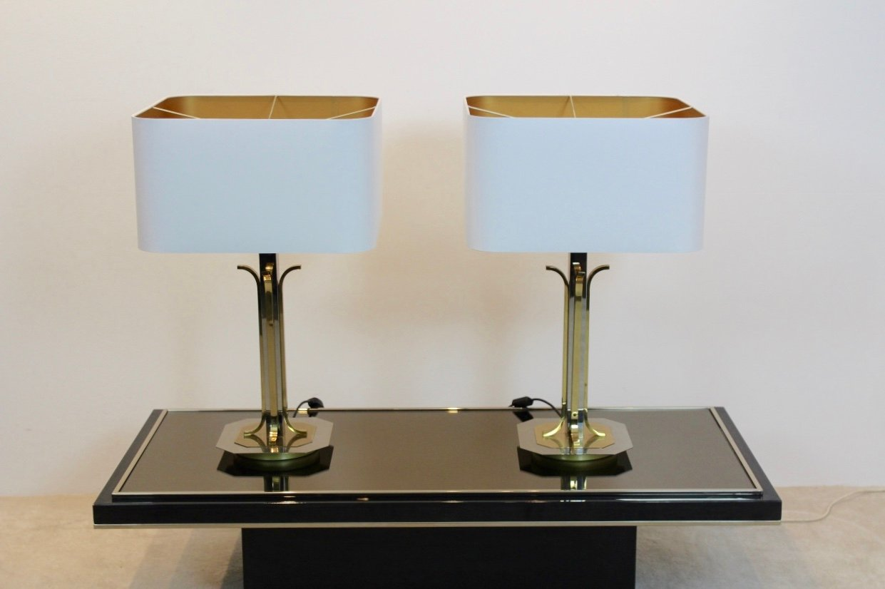 Mid Century Modern Br And Chrome Table Lamps Set Of 2
