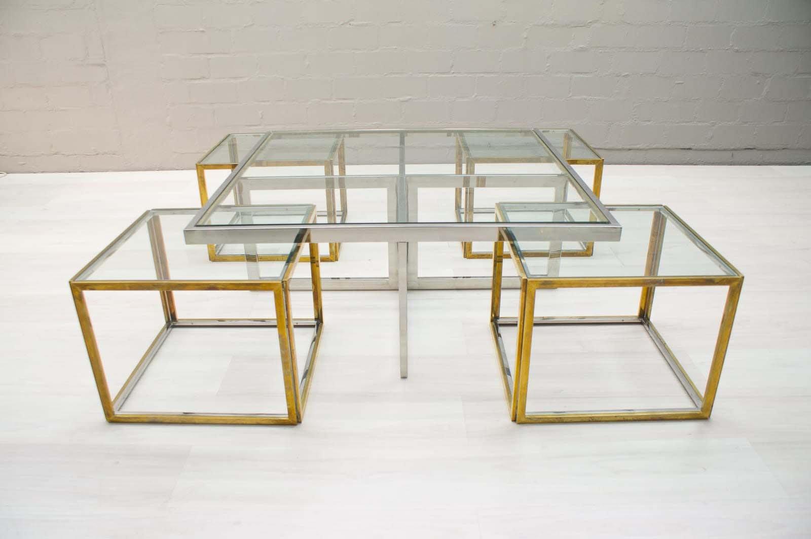 set de table et chaises gigognes vintage de maison charles 1970s en vente sur pamono. Black Bedroom Furniture Sets. Home Design Ideas