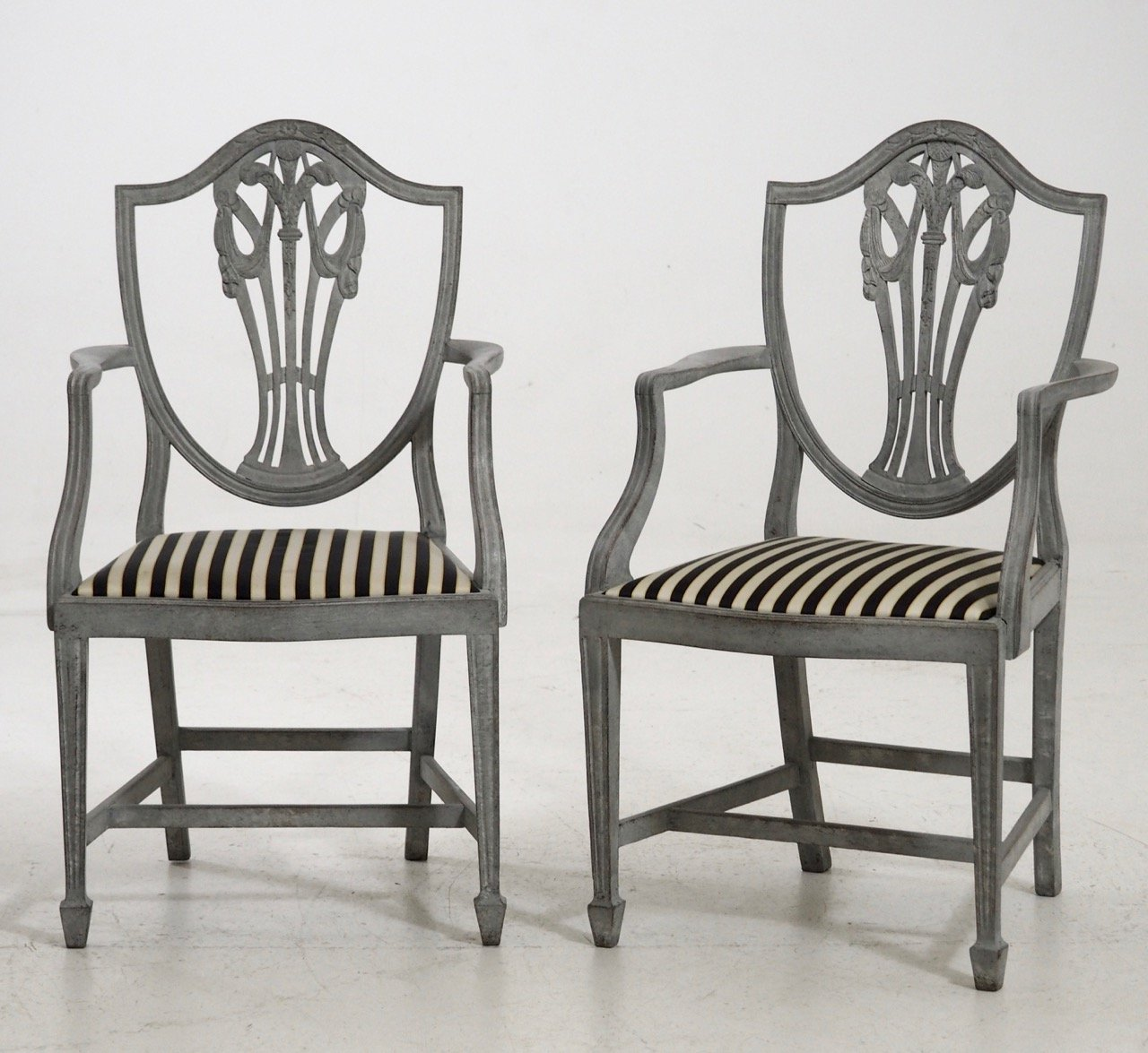 Attractive Antique Armchairs And Chairs Set With Fine Carvings
