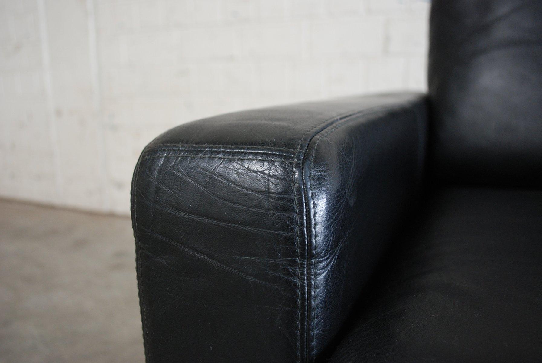 Poltrone conseta vintage in pelle nera di cor set di 2 in for Poltrone vintage pelle