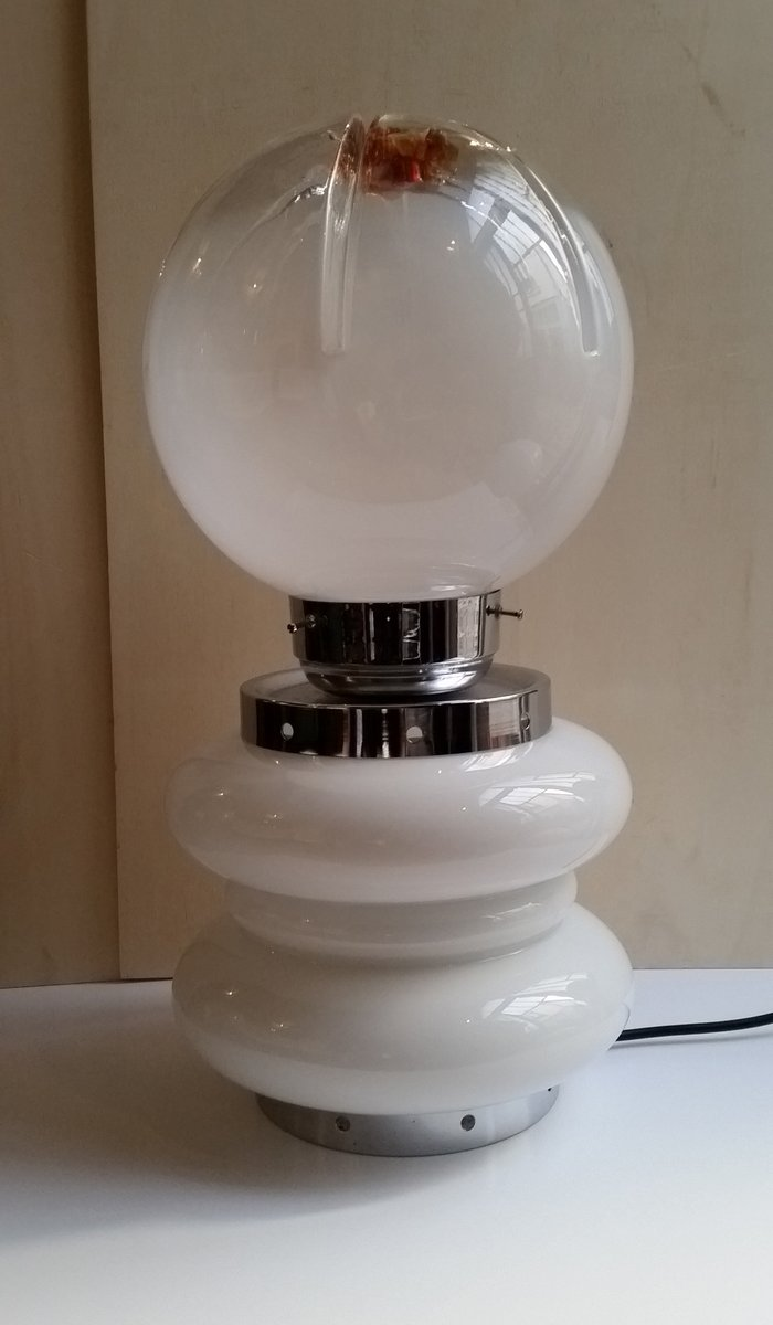 Runde Italienische Tischlampe von Carlo Nason für Mazzega, 1960er