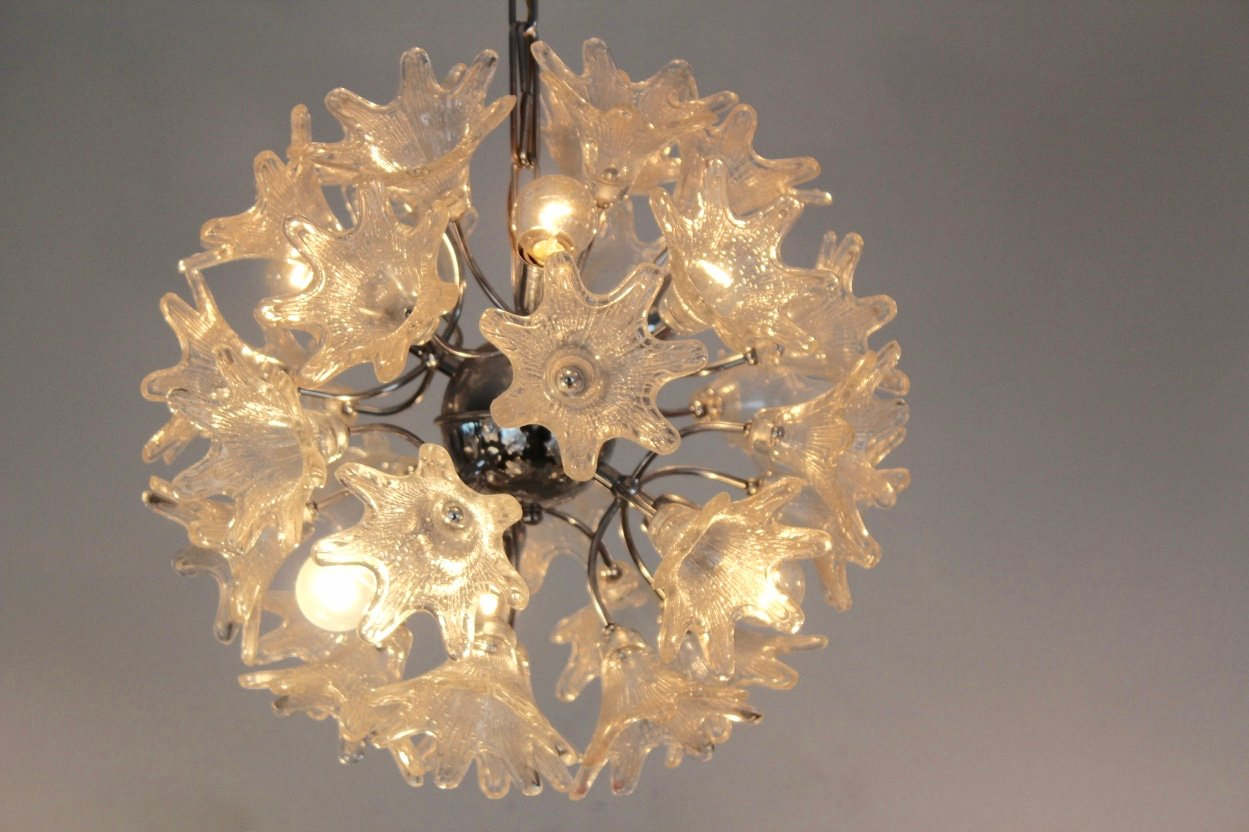 Vintage Murano Glass Chandelier by Paolo Venini for VeArt - Vintage Murano Glass Chandelier By Paolo Venini For VeArt For Sale
