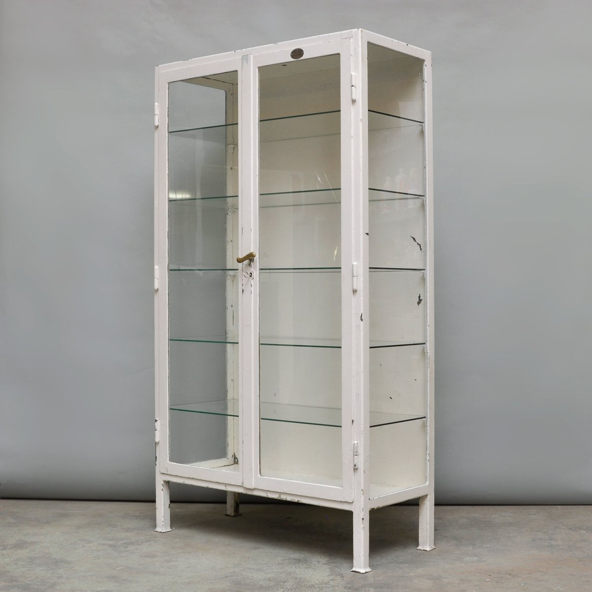 Vintage Steel And Glass Medicine Cabinet, 1930s